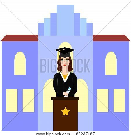 Graduate female student giving speech on the tribune with university back.