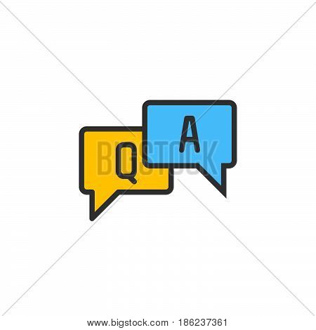 FAQ questions and answers filled outline icon line vector sign linear colorful pictogram. Symbol logo illustration. Pixel perfect