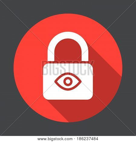 Privacy protection Lock with eye flat icon. Round colorful button circular vector sign with long shadow effect. Flat style design