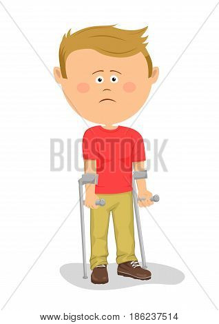 Little boy standing with crutches over white background
