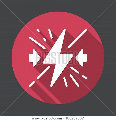 Collision flat icon. Round colorful button circular vector sign with long shadow effect. Flat style design