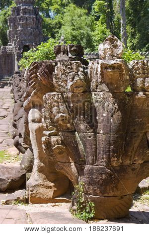 A Naga sculpture at Preah Khan Temple.