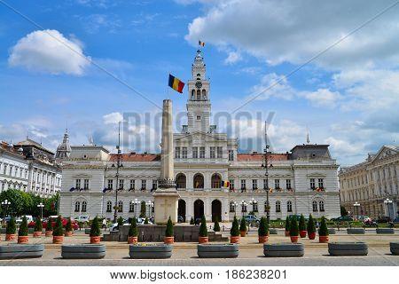 ARAD ROMANIA - 05.09.2017: City Hall landmark architecture with beautiful sky