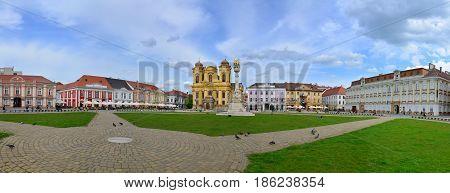 TIMISOARA ROMANIA - 05.08.2017: union square buildings landmark architecture panorama with beautiful sky