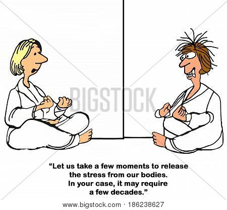 Cartoon about a woman so stressed she cannot relax and do yoga.