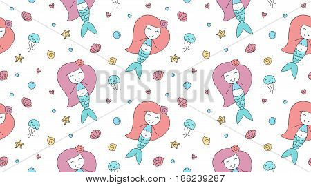 vector seamless pattern of cartoon mermaid, shell, starfish, jellyfish and bubble