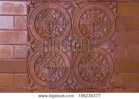 Tile with clay color patterns retro wal