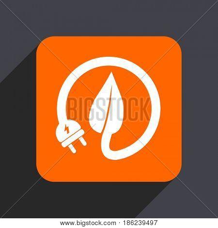 Eco electric plug orange flat design web icon isolated on gray background