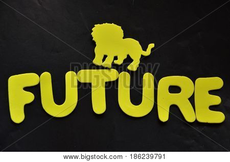 word future on a  abstract   black background