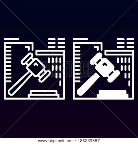 Auction hammer line and solid icon outline and filled vector sign linear and full pictogram isolated on white. Gavel symbol logo illustration