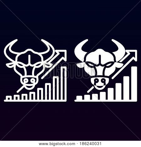 Stock market going up line and solid icon outline and filled vector sign linear and full pictogram isolated on white. Symbol logo illustration