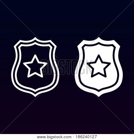 Public safety Sheriff badge with star line and solid icon outline and filled vector sign linear and full pictogram isolated on white. Symbol logo illustration