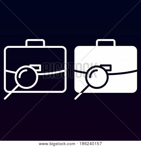 Find job portfolio search line and solid icon outline and filled vector sign linear and full pictogram isolated on white. Symbol logo illustration