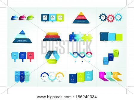 Mega set of 3 steps infographic templates diagrams graph presentations chart. Business three concept.