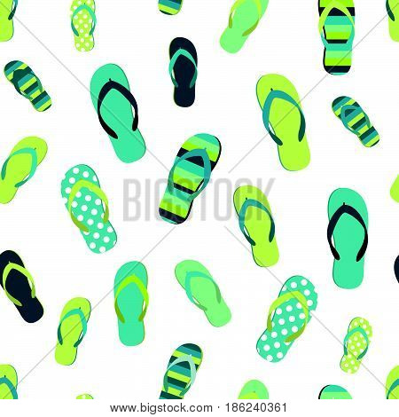 Flip flop color summer pattern. Seamless repeat pattern background. Cartoon flat illustration.