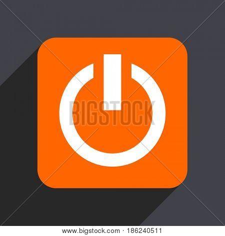 Power orange flat design web icon isolated on gray background