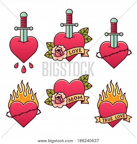 Traditional tattoo set. Classic American oldschool heart tattoos with daggers roses ribbons and fire thorn crowns and drops of blood. Scrolls with text: Mom Love True love.