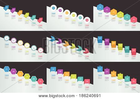 Mega set of Infographics timeline banners charts. Step by step report templates. Vector.