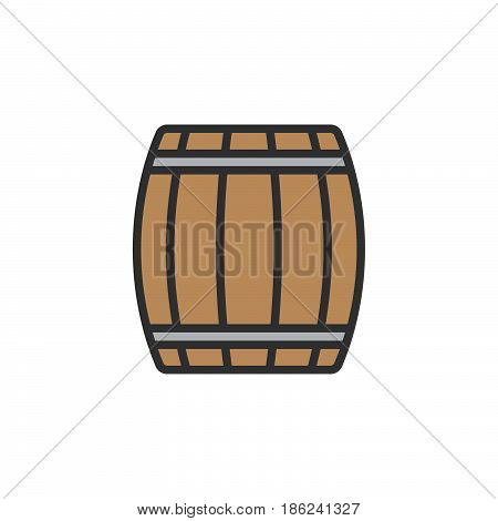 Wooden keg barrel filled outline icon line vector sign linear colorful pictogram isolated on white. Symbol logo illustration. Pixel perfect