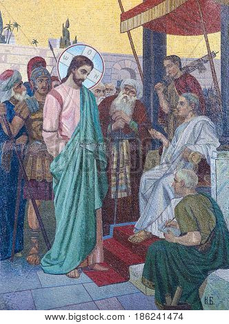 Mosaic Of Jesus And Pontius Pilate On Good Friday