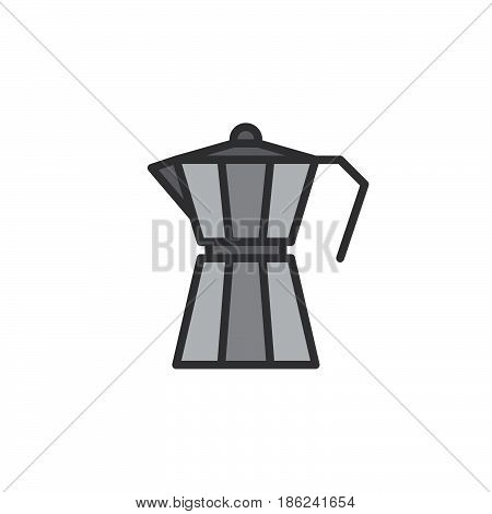 Moka pot macchinetta filled outline icon line vector sign linear colorful pictogram isolated on white. Symbol logo illustration. Pixel perfect