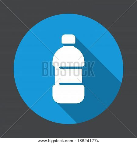 Plastic bottle of water flat icon. Round colorful button circular vector sign with long shadow effect. Flat style design