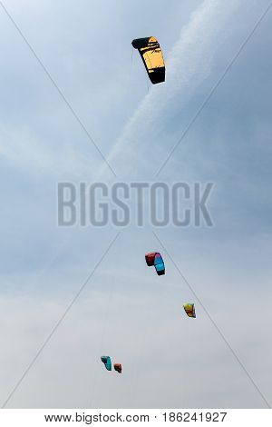 Colorful kites fly in the cloudy sky. Kitesurfing.