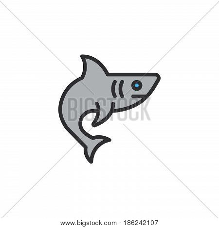Shark fish filled outline icon line vector sign linear colorful pictogram. Symbol logo illustration. Pixel perfect
