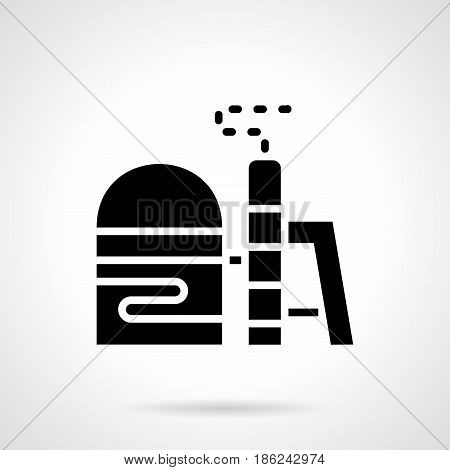 Abstract monochrome symbol of fuel plant storage. Industrial architecture and ecology concept. Symbolic black glyph style vector icon.