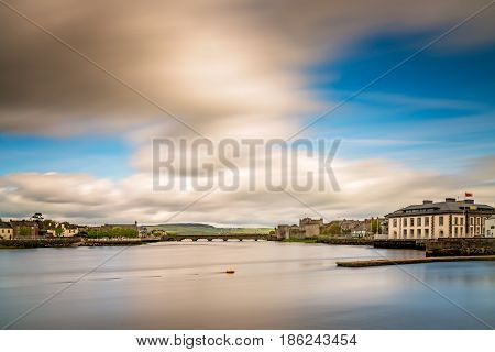 View of the Shannon river and the King Johns Castle, Limerick, Ireland