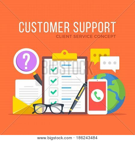 Customer support. Customer service, client service, IT, technical support concepts. Flat design graphic elements set. Modern concepts for web banners, websites, infographics, etc. Vector illustration