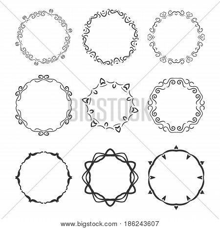 Hand drawn circle vignette frames set isolated vector