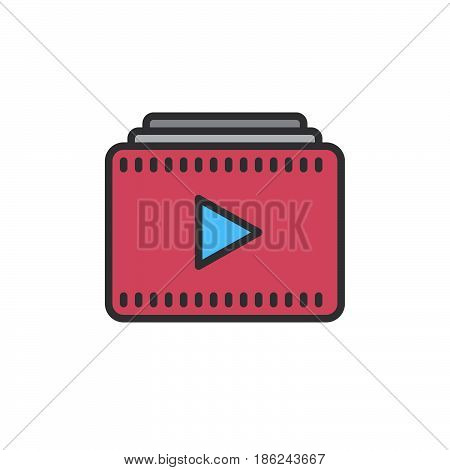 Video playlist filled outline icon line vector sign linear colorful pictogram. Symbol logo illustration. Pixel perfect
