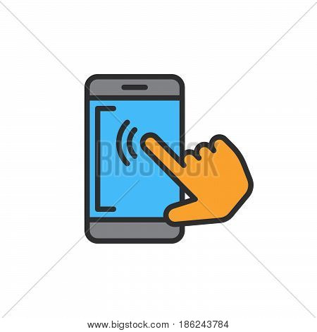 Smartphone touchscreen tap filled outline icon line vector sign linear colorful pictogram. Symbol logo illustration. Pixel perfect
