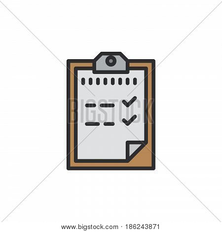 Passed test Clipboard filled outline icon line vector sign linear colorful pictogram. Symbol logo illustration. Pixel perfect