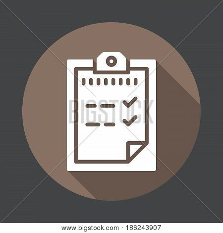 Passed test Clipboard flat icon. Round colorful button circular vector sign with long shadow effect. Flat style design