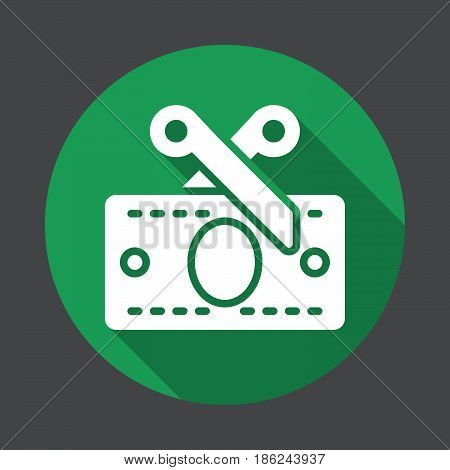 Tax Scissors and money banknote flat icon. Round colorful button circular vector sign with long shadow effect. Flat style design