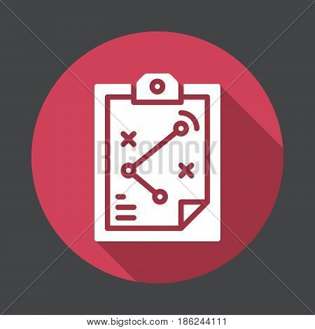 Strategy board flat icon. Round colorful button circular vector sign with long shadow effect. Flat style design