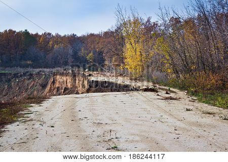 The collapse of the road as a result of erosion. End of the road
