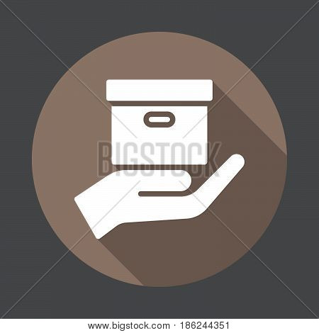 Hand holding parcel Delivery service flat icon. Round colorful button circular vector sign with long shadow effect. Flat style design