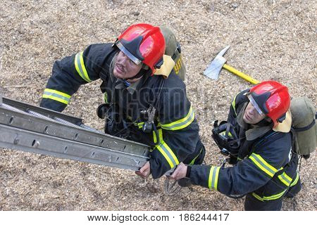 Portrait of a fireman top view from stage