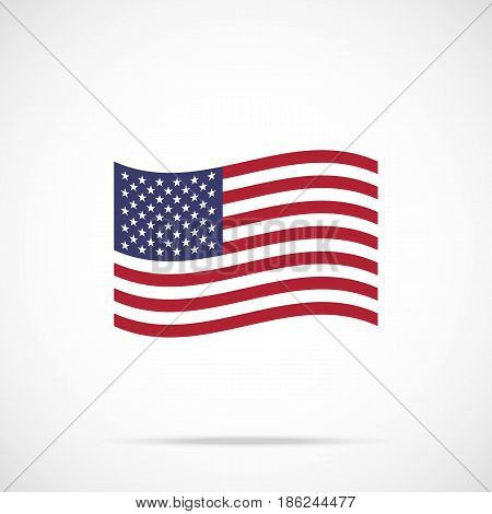 Waving American flag icon. Flag of the United States of America. Vector icon isolated on gradient background