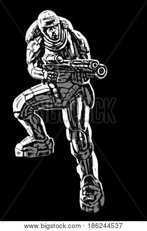 soldier of the future vector illustration. science fiction illustration
