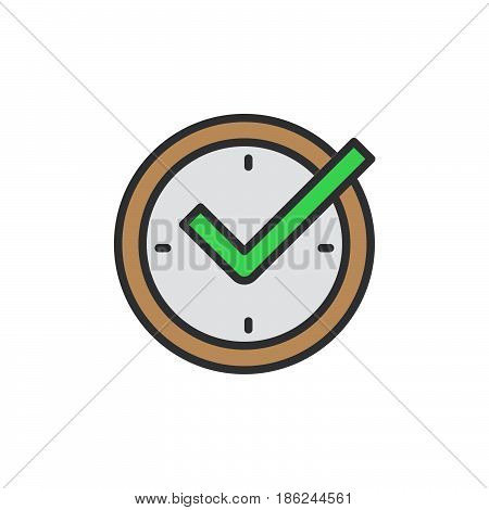 Check mark on clock real time protection filled outline icon line vector sign linear colorful pictogram. Symbol logo illustration. Pixel perfect