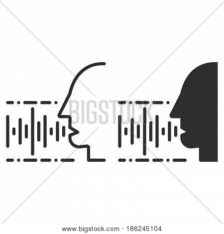 Voice speech recognition line and solid icon outline and filled vector sign linear and full pictogram isolated on white. Symbol logo illustration