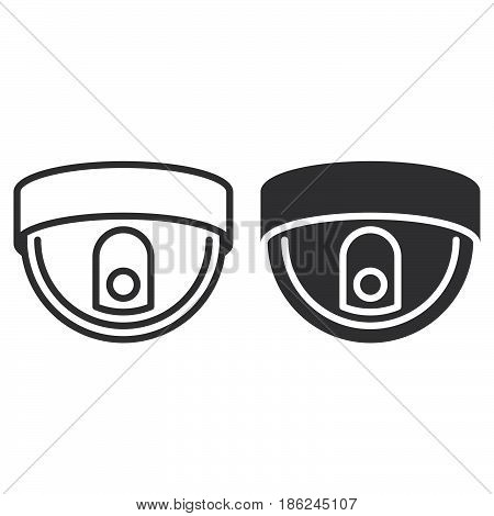Dome camera line and solid icon outline and filled vector sign linear and full pictogram isolated on white. Surveillance symbol logo illustration