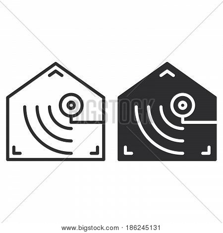 Motion detector line and solid icon outline and filled vector sign linear and full pictogram isolated on white. Indoor camera symbol logo illustration