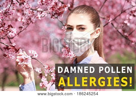 Pollen allergy. Young woman with face mask outdoor