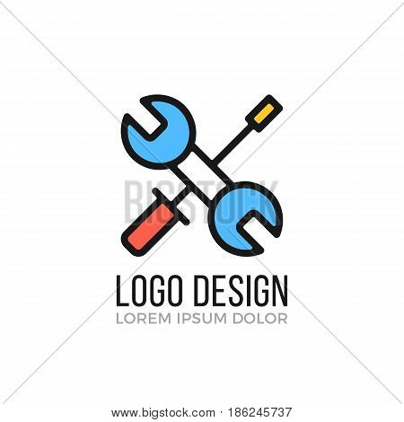 Maintenance, repair logo design concept. Crossed wrench and screwdriver icon. Vector logo isolated on white background