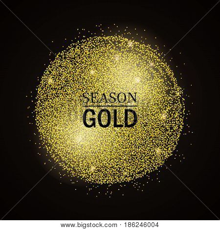 Abstract vector stippling gold frame Gold shining background. Glitter template dotted. Season sale